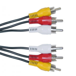 Powertech Καλώδιο 3 x RCA Male / 3 x RCA Male (red, white, yellow) - 3m