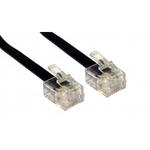 Power tech καλωδιο τηλεφωνου 4P4C σε ΜΑΥΡΟ χρωμα - 5Μ
