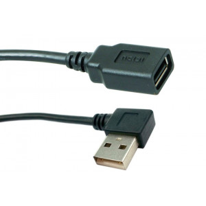 Powertech καλώδιο USB 2.0V προέκταση (A-F) - 90o - 1.5m - BLACK