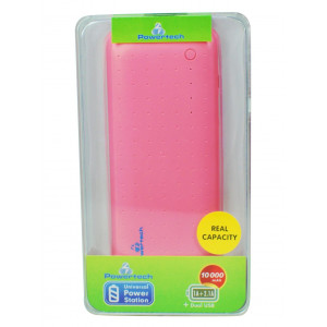 POWERTECH Power Bank 10000mAh, 2x USB, Pink