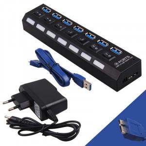 POWERTECH USB 3.0V Hub, 7 Port, On-Off + Μετασχηματιστής ρεύματος