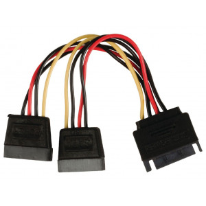 Powertech sata power 15pin male / 2x 15pin fimale 15pin