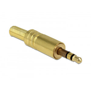 DELOCK Βυσμα 3.5mm Stereo, 3 pin, Bend Protection, Metal, Gold