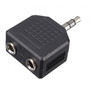 POWERTECH adapter ST 3.5mm M/ 2F 3.5mm - NIKEL, 5τεμ