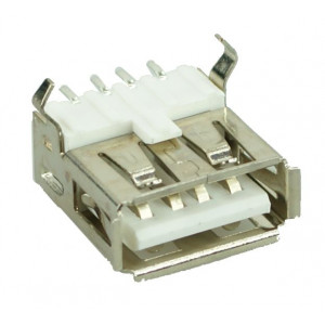 USB 2.0 Connector A TYPE, up Solder in, Silver/White