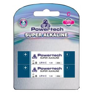 POWERTECH SUPER Αλκαλικη μπαταρια LR14, 1,5V - 2PACK