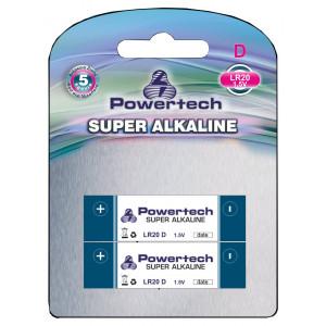 POWERTECH SUPER Αλκαλικη μπαταρια LR20, 1,5V - 2PACK