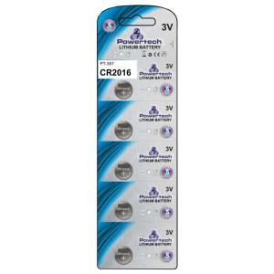 POWERTECH Μπαταρία λιθίου 3v, CR2016- 5ΤΕΜ
