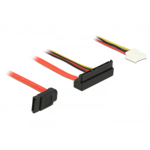 DELOCK Cable SATA 6Gb/s 7pin + 4pin σε SATA 22pin, 5V-12V, γωνιακο 30cm