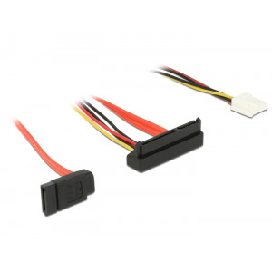 DELOCK Cable SATA 6Gb/s 7pin + 4pin σε SATA 22pin, γωνιακο κατω, 30cm