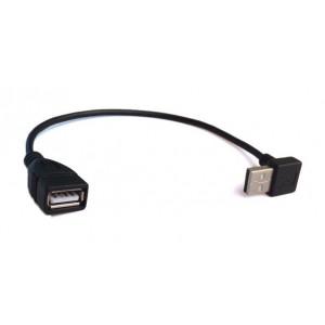 POWERTECH καλωδιο USB 2.0 90° (κατω) σε USB 2.0 female, 0.2m