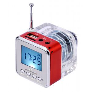 POWERTECH Speaker, Portable, FM Radio, 3W, Led Screen, Red