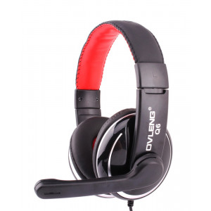 OVLENG USB Headset Q6, 40mm, Microphone, Volume Control, Black-Red