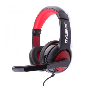 OVLENG USB Headset Q10, 40mm, Microphone, Volume Control, Black-Red
