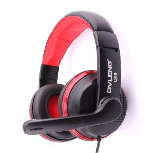 OVLENG USB Headset Q13, Super Bass, 40mm, Microphone, Black-Red
