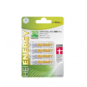 HEITECH 04002190, 4 ΤΕΜΑΧΙΑ ΕΠΑΝΑΦΟΡΤΙΖΟΜΕΣ ΜΠΑΤΑΡΙΕΣ HR03/ Micro/ AAA 800mAh 1.2V