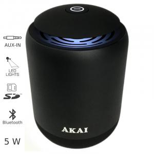 AKAI ABTS-S4 ΜΕΤΑΛΛΙΚΟ ΗΧΕΙΟ BLUETOOTH ΜΕ LED, USB, SD ΚΑΙ AUX – 5W