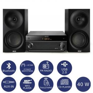 AKAI AM-301K MICRO HI-FI ΜΕ BLUETOOTH, USB, SD CARD, AUX-IN ΚΑΙ CD-PLAYER 40W