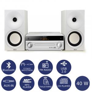 AKAI AM-301W MICRO HI-FI ΜΕ BLUETOOTH, USB, SD CARD, AUX-IN ΚΑΙ CD-PLAYER 40W