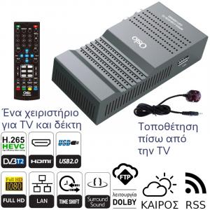 OSIO OST-2650MD DVB-T/T2 FULL HD H.265 MPEG-4 ΨHΦIAKOΣ ΔΕΚΤΗΣ ΜΕ USB, ΧΕΙΡΙΣΤΗΡΙΟ ΓΙΑ TV & ΔΕΚΤΗ, ΤΟΠΟΘΕΤΗΣΗ ΠΙΣΩ ΑΠΟ ΤΗΝ TV
