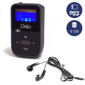 OSIO SRM-7880BG MP3 PLAYER ΜΕ ΚΛΙΠ, ΜΑΥΡΟ 8GB