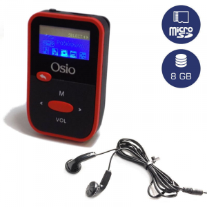 OSIO SRM-7880BR MP3 PLAYER ΜΕ ΚΛΙΠ, ΚΟΚΚΙΝΟ 8GB