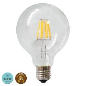 ΛΑΜΠΤΗΡΑΣ LED E27 8WATT G125 FILAMENT 2700 W.W. CLEAR